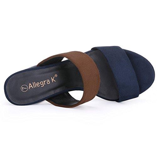 Allegra K Womens Color Block Slide Slip On Platform Sandali Mule Marrone