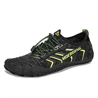 MOERDENG Men Women Water Shoes Quick Dry Barefoot Aqua Socks Swim Shoes for Pool Beach Walking Running Black Size: 5.5 Women/4 Men