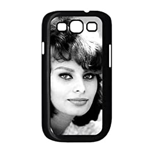 Funda Samsung Galaxy S3 9300 caja del teléfono celular Funda Negro Sophia Loren F5Z7JY