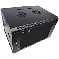 6U Server Rack Wall Mount Vented Server Cabinet | Ships Fully Assembly | Glass Front Door with Removable Side Doors (6U)