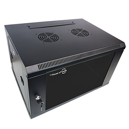 6U Server Rack Wall Mount Vented Server Cabinet | Ships Fully Assembly | Glass Front Door with Removable Side Doors (6U) by The House of Trade