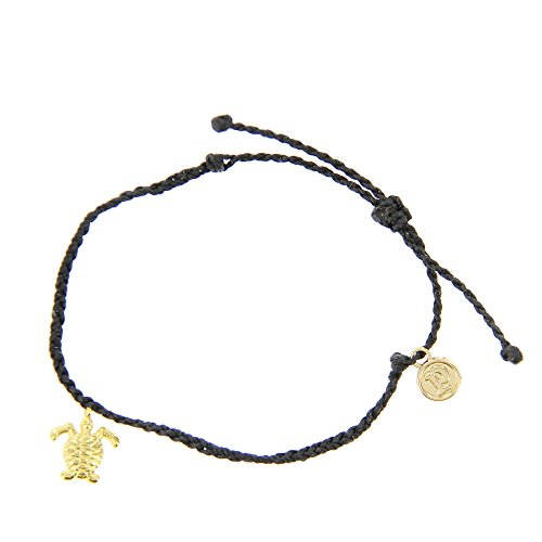 Pura Vida Bitty BB Turtle Charm Black Bracelet - Gold-Plated Charm, Adjustable Band - 100% Waterproof ()