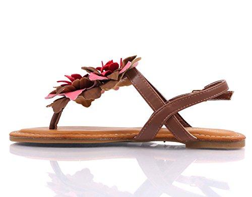 Flower Sandals strap Thong T Decor Closure Chestnut Slingback Bamboo Women Buckle Uxf0qCOw