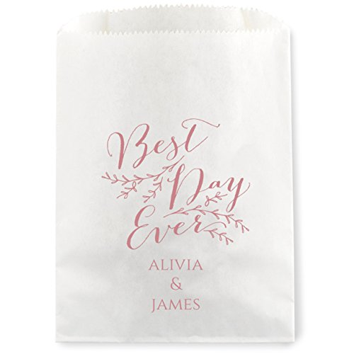Best Day Ever Personalized Foil Favor Treat Bag for Candy Buffet - 50 Custom White Cookie Bags 5 3/4 x 7 (Personalized Cookie Favors)