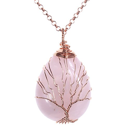 (Top Plaza Wire Wrapped Tree of Life Natural Gemstone Teardrop Pendant Necklace Healing Crystal Chakra Jewelry for Women - Rose Quartz)