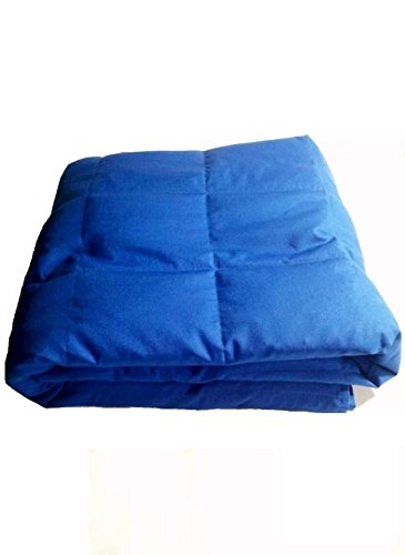 """Peace Weighted Products - Twin Weighted Blanket Blue Cotton 40"""" x 70"""" (10 Pounds)"""