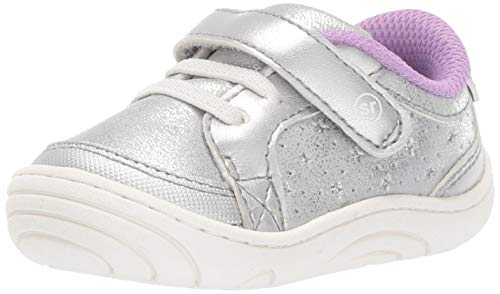Stride Rite Aubrey Baby/Toddler Girl's Casual Sneaker First Walker Shoe, Silver, 4.5 M US