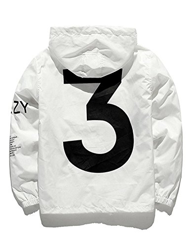 PEATAO Windbreaker Jacket Men Waterproof Lightweight Letter Print Sports Streetwear Hoodies, White, Small by PEATAO