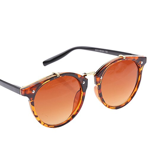 Black con amp; de Lens Mujer Marco de Frame de amp; Gafas Sol Alomejor Redondas Sol UV400 Gato Lens Grey Ojo Grey y Gradient Gafas de Frame Hombre para IUqCnSw5