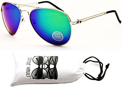 [A129-vp Style Vault Aviator Metal Mirrored Sunglasses (S1126V Silver-Emerald Mirror, uv400)] (80s Metal Costumes)