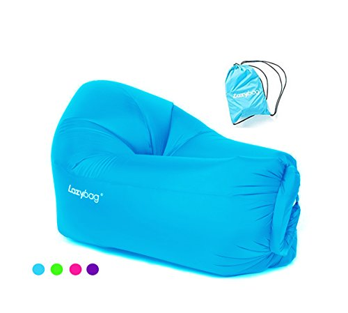 Snack Trap Accessories (Lazybag Children Inflatable Lounger with Carry Bag Nylon Single Inlet Portable Waterproof Air Sofa Lounge Chair Couch Pool Float, 47x32x22 Inches, Blue)