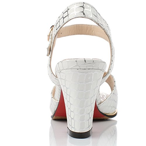 Sandali A Quadretti A Tacco Alto A Punta Con Fibbia In Materiale Plastico Bianco