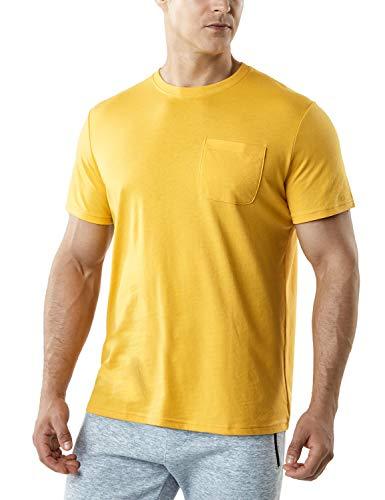 Price comparison product image TSLA Men's FlexDri Short Sleeve T-Shirt Athletic Cool Running Top,  Dyna Cotton Pocket(mts55) - Yellow,  Medium