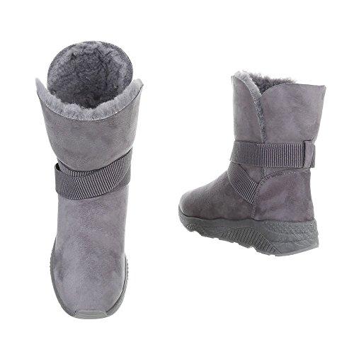 Ital-Design Women's Boots Flat Classic Boots Grey z0XMmEbD7k
