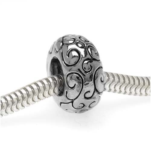 Silver Tone European Style Large Hole Spacer Bead With Scrolling Vine Pattern (1) (Spacer Vine)