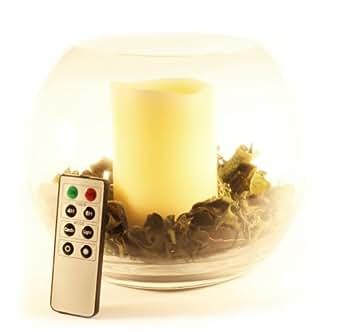 Frostfire - Recipiente de cristal circular con lámpara en forma de vela con mando a distancia (funciona con pilas, incluye mezcla aromática de manzana)