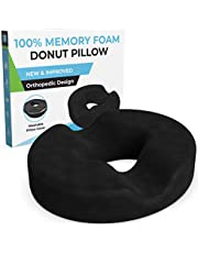 Donut Pillow for Tailbone Pain-100% Memory Foam Hemorrhoids Pain Relief Office Chair Cushion for Back, Sciatica, Orthopedic Surgery Recovery, Postpartum Pregnancy Seat Cushion Support-Reduce Coccyx Pain