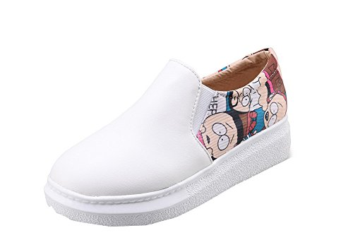 On Court WeenFashion Women's Heels PU Shoes Low Solid Closed Round Toe White Pull AzAFxqZw