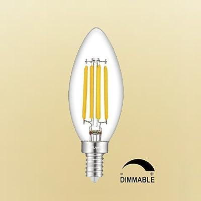 CRLight LED Candelabra Bulb 4W Dimmable E12 Base LED Candle Bulbs, 2500K / 2700K / 3000K / 4000K / 5000K / 6000K