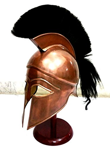 THORINSTRUMENTS (with device) Medieval Greek Spartan Corinthian Helmet with Black Plume Ancient Armour Helmet Replica