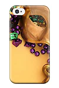 Iphone 4/4s Case Cover - Slim Fit Tpu Protector Shock Absorbent Case (mardi Gras)