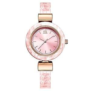 Relojes Mujer con Estrecha Colorful Reloj de la Pulsera, Escala del Clavo Elegantes Relojes de Pulsera para Mujeres, Rosa