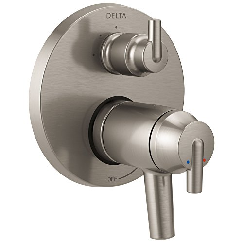 Delta Trinsic Stainless Steel Finish Thermostatic Shower Faucet Control with 3-Setting Integrated Diverter Includes Trim Kit and Valve with Stops D2137V Delta Faucets