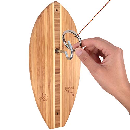 Tiki Toss Hook and Ring Toss Game - 100% Bamboo Only 5 Minutes to Setup - All Parts Included (Hawaiian Edition) Assorted