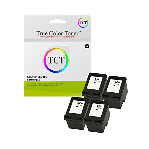 True Color Toner 62XL Black 4 Pack High Yield Compatible Ink Cartridge C2P05AN 62 XL Replacement for HP Envy 5640 5642 5643 5644 5646 5660 7640 7645 OfficeJet 5745 5740 5742 5743 Printers (600 Pages)