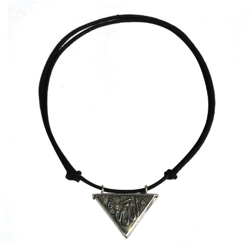 Sterling Silver Open-able Trianglular Nazar Talisman Pendant With Adjustable Neck Cord