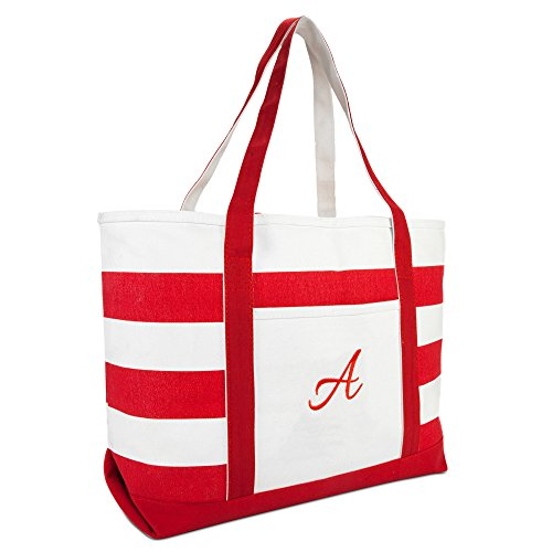DALIX Beach Tote Bag Shoulder Bags Striped Monogrammed Red Ballent Letter A