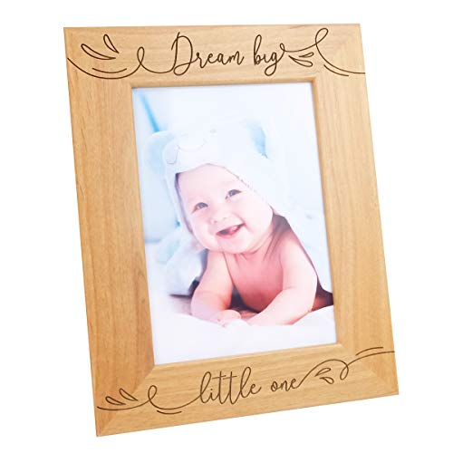 Dream Big Little One-Wood Engraved Baby Picture Frame with Glass Front,Expecting Mom Gift,Christening Gift,Baby Announcement Gift,Baby Shower Gift,Pregnancy Gift (5x7 Vertical)