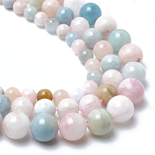 - Love Beads Natural Morganite Stone Beads 8 mm Round Loose Gemstone