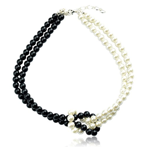 TS Double Black and White 2 Layer Simulated Pearl Strand Necklace (A)