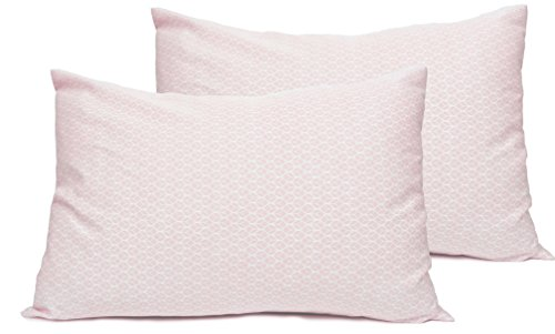 2 Toddler or Travel Pillowcases in Organic Cotton to Fit 13 x 18 and 14 x 19 Pillow, Geo Leaf Print (Rose) by Dera Design