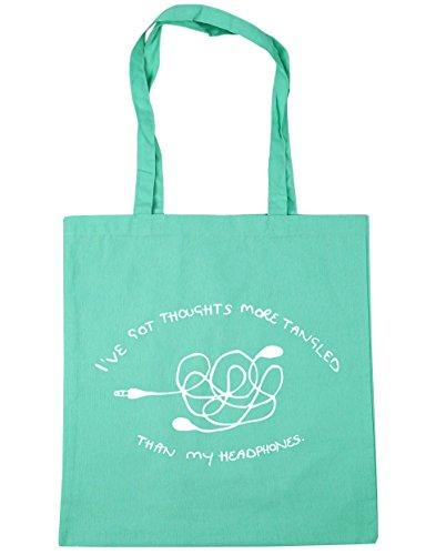 "HippoWarehouse - Bolsa de mano, para compras, gimnasio y playa, diseño con texto en inglés ""I've got thoughts more tangled than my headphones"", 42 x38 cm, 10 litros verde menta"