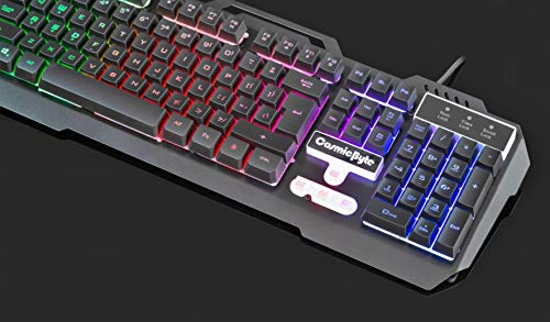Cosmic Byte CB-GK-05 Titan Wired Gaming Keyboard with Aluminum Body, Rainbow Backlit Keycaps, Braided Cable (Black)