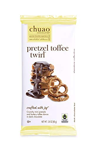 Chocolate Bars - Chuao Chocolatier Chocolate Bars 4pk (2.8 oz bars) - Best-Selling Chocolate Pack - Gourmet Artisan Chocolate - Free of Artificial Flavors (Pretzel Toffee Twirl) (Toffee Pretzel)