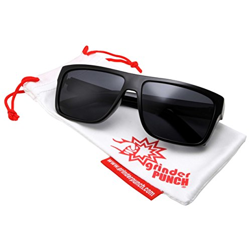 grinderPUNCH Men's Polarized Lens Flat Top Lifestyle Sunglasses Black Frame