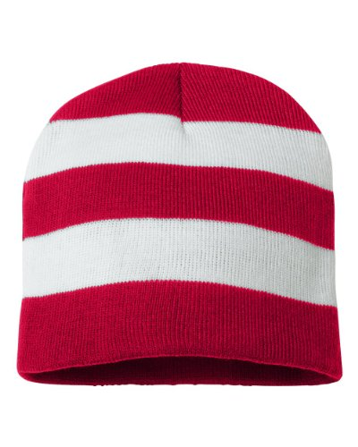 Striped Beanie Cap - Sportsman Rugby Striped Knit Beanie, One Size, Red/ White
