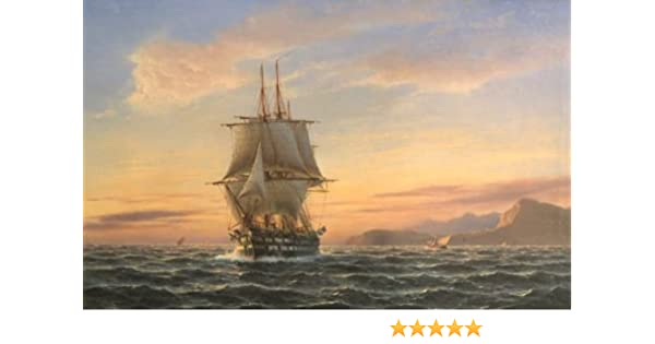 Real Hand Painted Seascape Ship Big Sail Boat on Ocean in Sunset Canvas Oil  Painting for Home Wall Art Decoration, Not a Print/ Giclee/ Poster