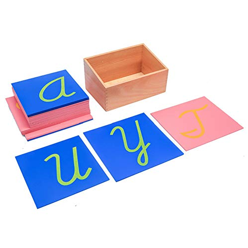 (DANNI Baby Toy for Children Montessori Sandpaper Letters Lower Case Cursive with Box Kid Alphabet Educational Toy Brinquedos)