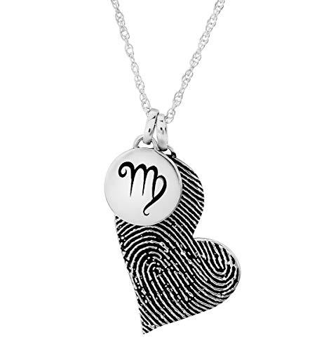 Personalized Heart Charm Layered Necklace Set (Fingerprint)