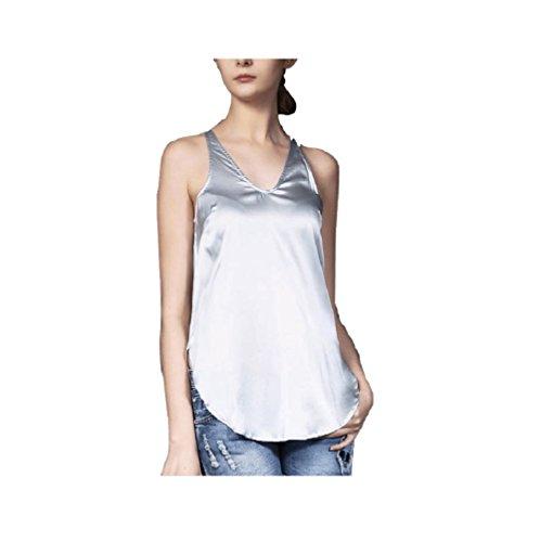 Elegante Scollata Grigio Con Maniche shirt Senza Fuweiencore Casual Estate Scollo A T V qxv8AwH