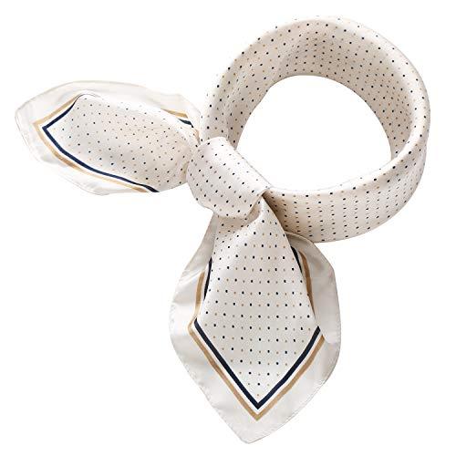 (RIIQIICHY Women's 27.6'' Silk Satin Square Polka Dot Print Hair Head Scarf Neckerchief)