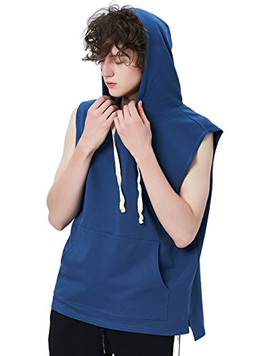 Zengjo Men's Sleeveless Hooded Hip Hop Tanktop Active Hipster Sportwear Sweatshirt Solid Drawstring Hoodie (Blue-XXL)