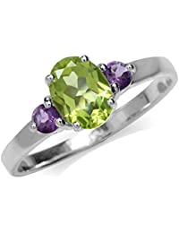 1.41ct. Natural Peridot & Amethyst White Gold Plated 925 Sterling Silver Engagement Ring