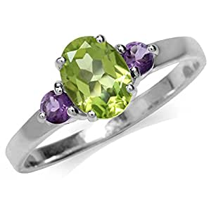 1.41ct. Natural Peridot & Amethyst White Gold Plated 925 Sterling Silver Engagement Ring Size 6
