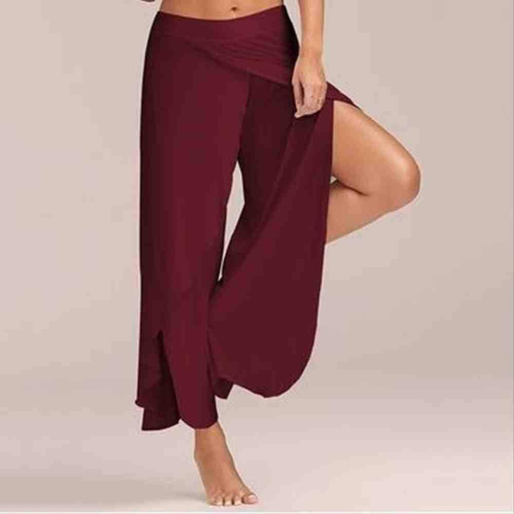 ZIJS Pantalones de Yoga Pantalones Anchos sólidos Mujeres Ropa ...