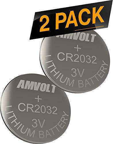 2 Pack AmVolt CR2032 Battery 220mAh 3 Volt Lithium Battery Coin Button Cell 2023 Expiry Date